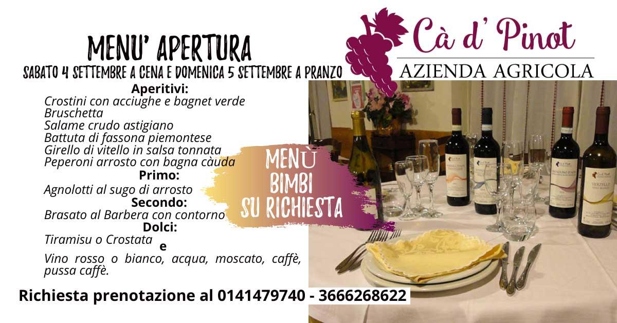 Read more about the article Menù 4 e 5 Settembre 2021